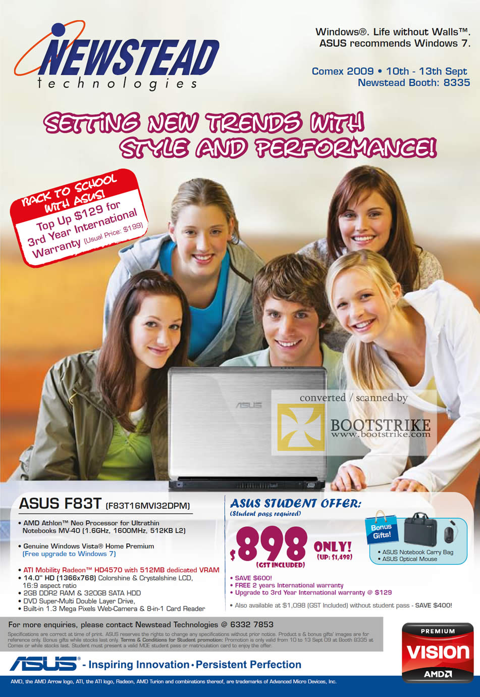 Comex 2009 price list image brochure of ASUS Notebook AMD Athlon Neo F83T Student Offer