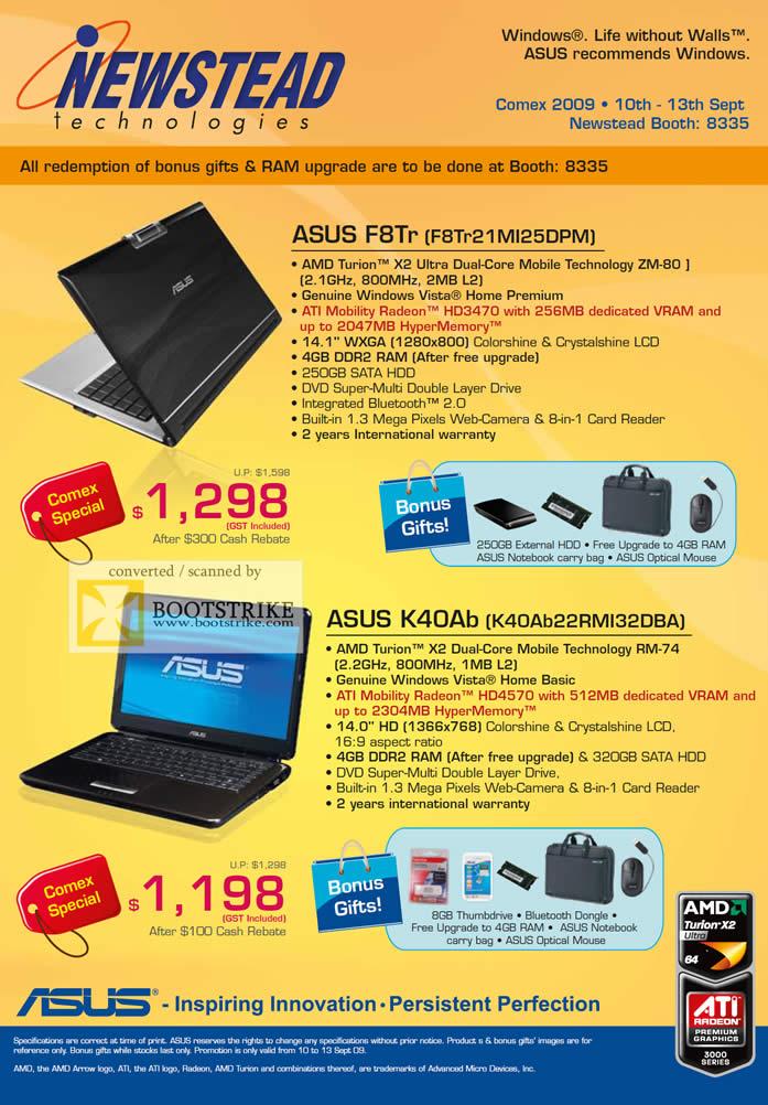 Comex 2009 price list image brochure of ASUS Notebooks F8Tr K40Ab AMD Turion
