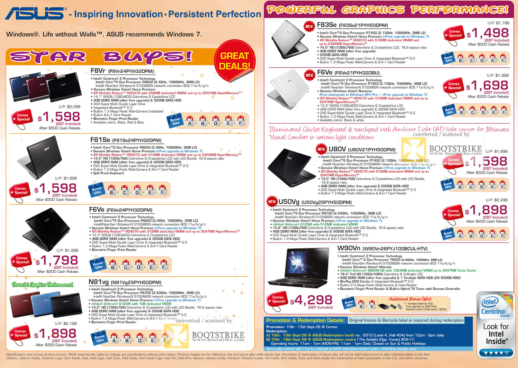 Comex 2009 price list image brochure of ASUS Notebooks F8Vr F81Se F6Ve N81vg F83Se U80V U50Vg W90Vn