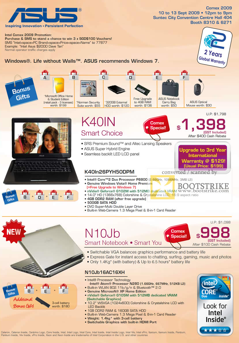 Comex 2009 price list image brochure of ASUS Notebooks K40IN N10Jb