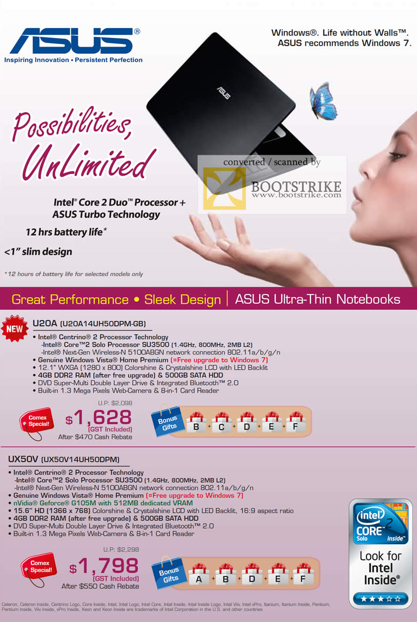 Comex 2009 price list image brochure of ASUS Thin Notebooks U20A UX50V