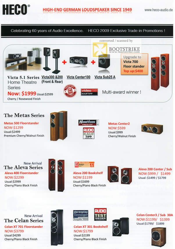 Comex 2009 price list image brochure of AV One Heco Speakers Metas Aleva Celan Victa