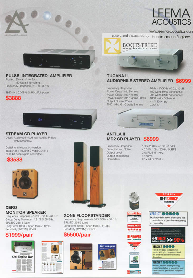 Comex 2009 price list image brochure of AV One Leema Acoustics Amplifer CD Player Speaker