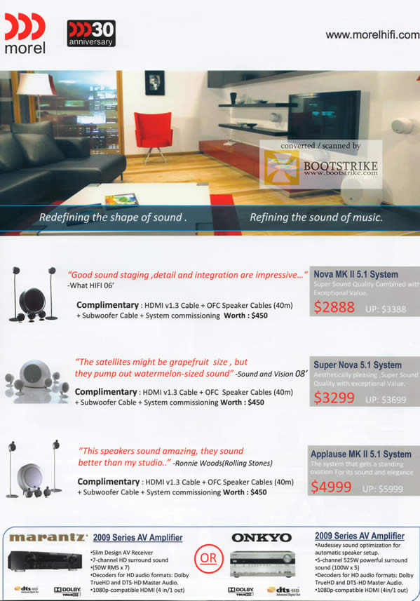 Comex 2009 price list image brochure of AV One Nova MK Super Applause Speakers