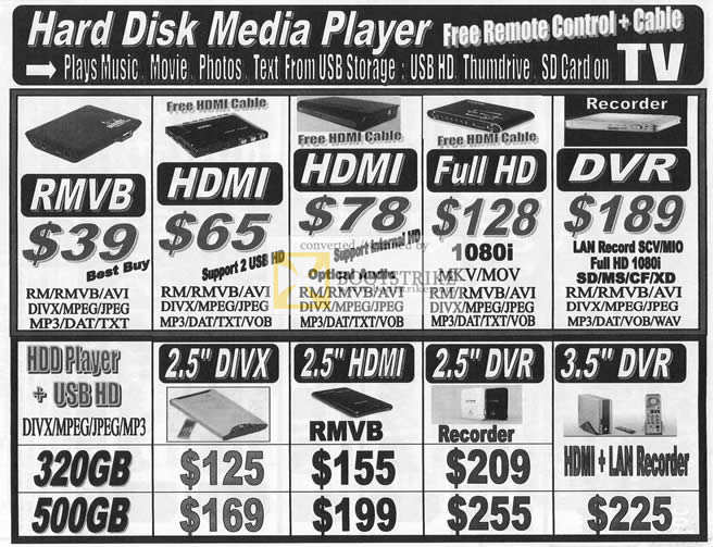 Comex 2009 price list image brochure of Abscom Hard Disk Media Player RMVB HDMI DVR DIVX MPEG