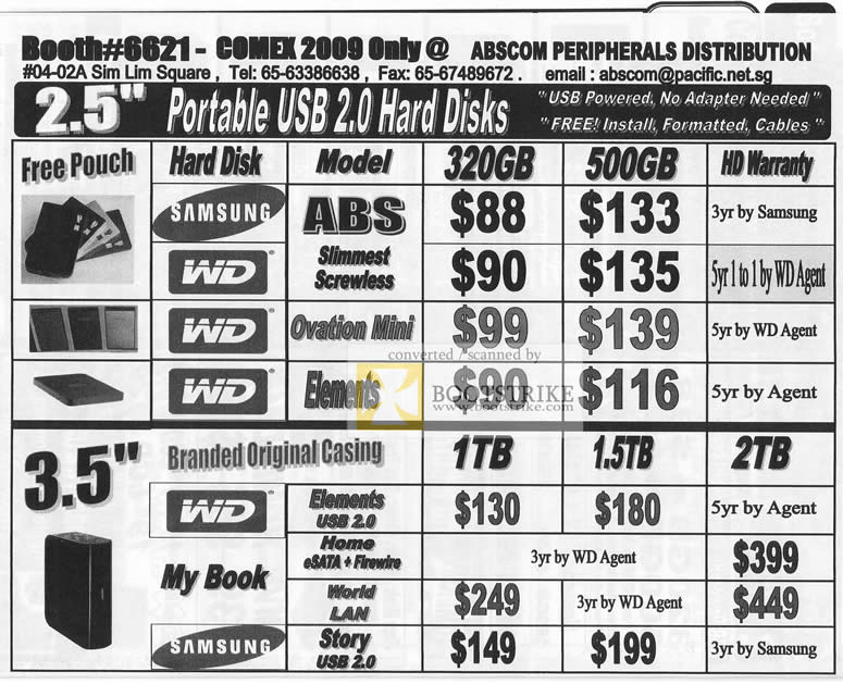 Comex 2009 price list image brochure of Abscom Portable USB Hard Disks WD Samsung Ovation