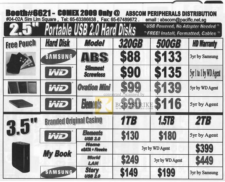 Comex 2009 price list image brochure of Abscom Portable USB Hard Disks WD Samsung Ovation