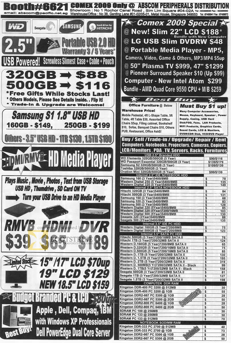 Comex 2009 price list image brochure of Abscom WD Seagate Samsung Hitachi Media Player RAM