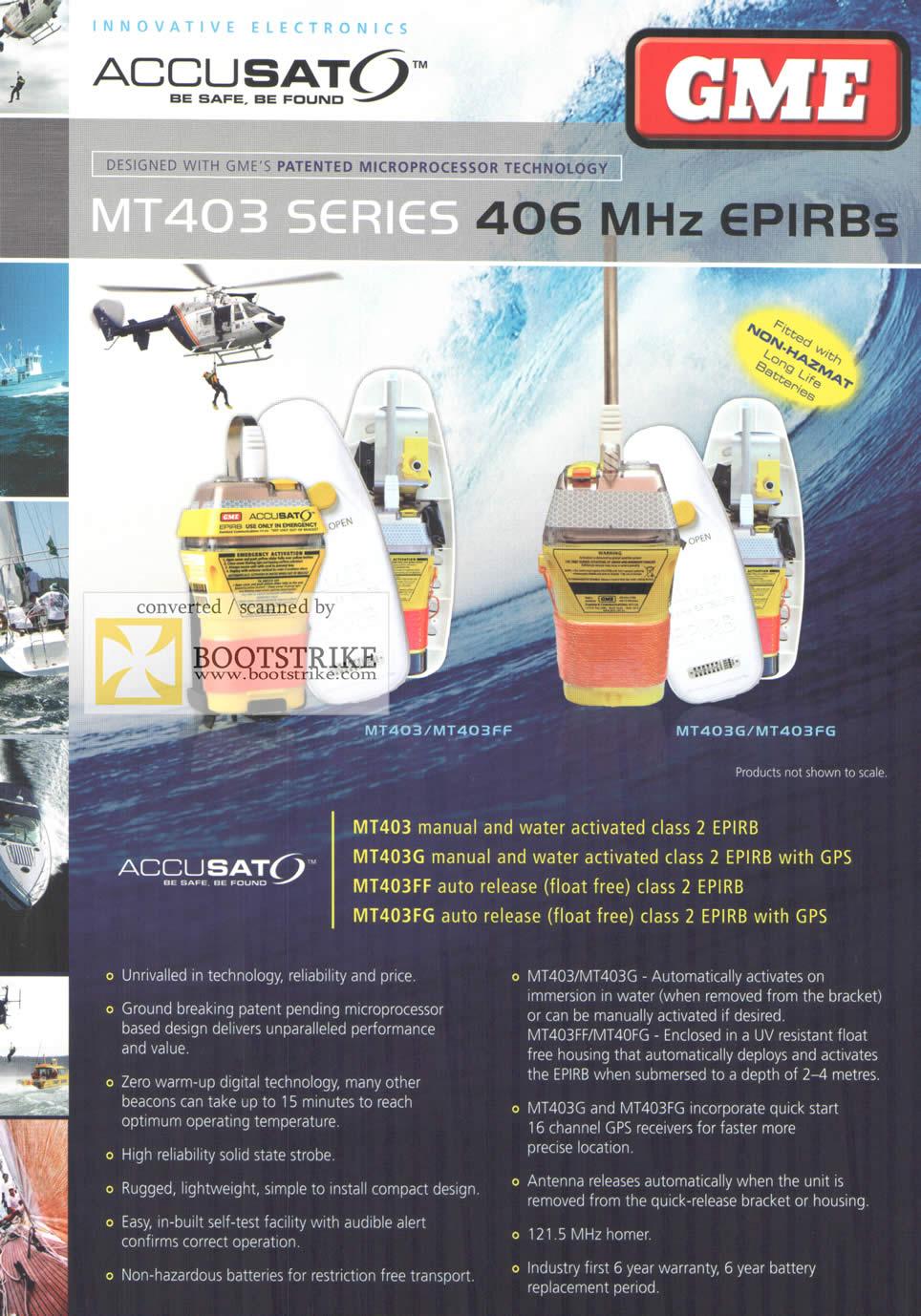 Comex 2009 price list image brochure of Accusat EPRIB MT403 MT403FF MT403G MT403FG