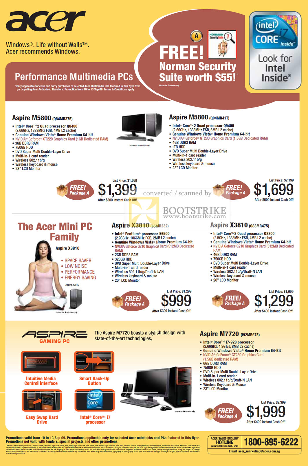 Comex 2009 price list image brochure of Acer Aspire Desktop PCs M5800 Mini PC X3810 M7720 Gaming