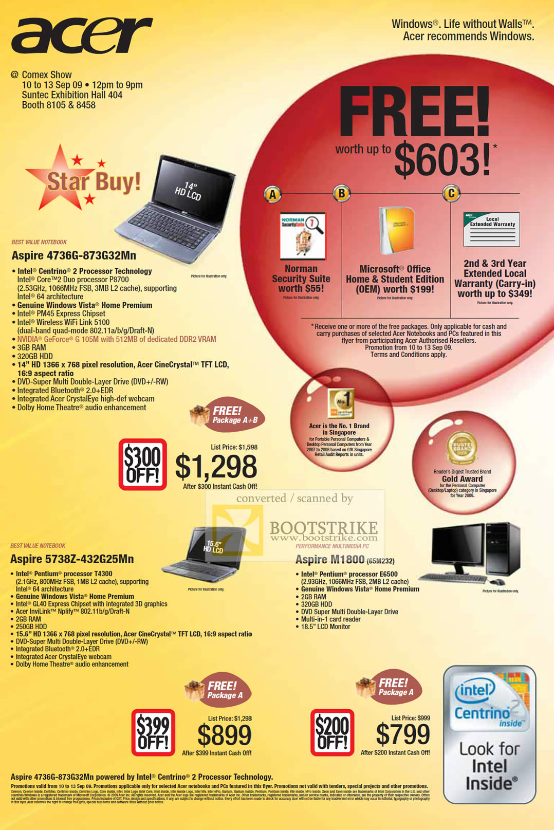 Comex 2009 price list image brochure of Acer Aspire Notebooks 4736G 5738Z M1800 Desktop PC
