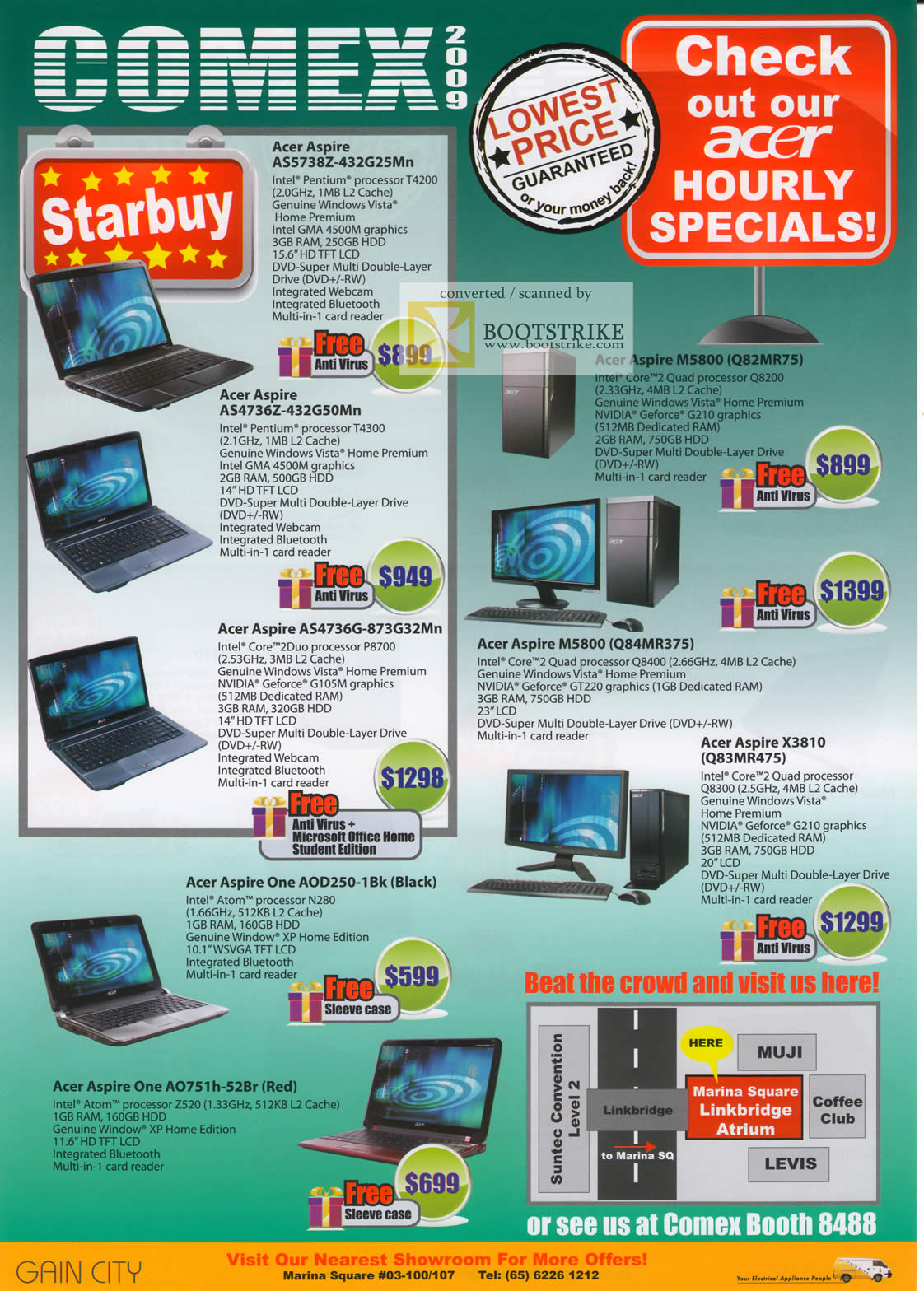 Comex 2009 price list image brochure of Acer Aspire Notebooks AS5738Z AS4736Z M5800 One AOD250 Desktop X3810 M5800