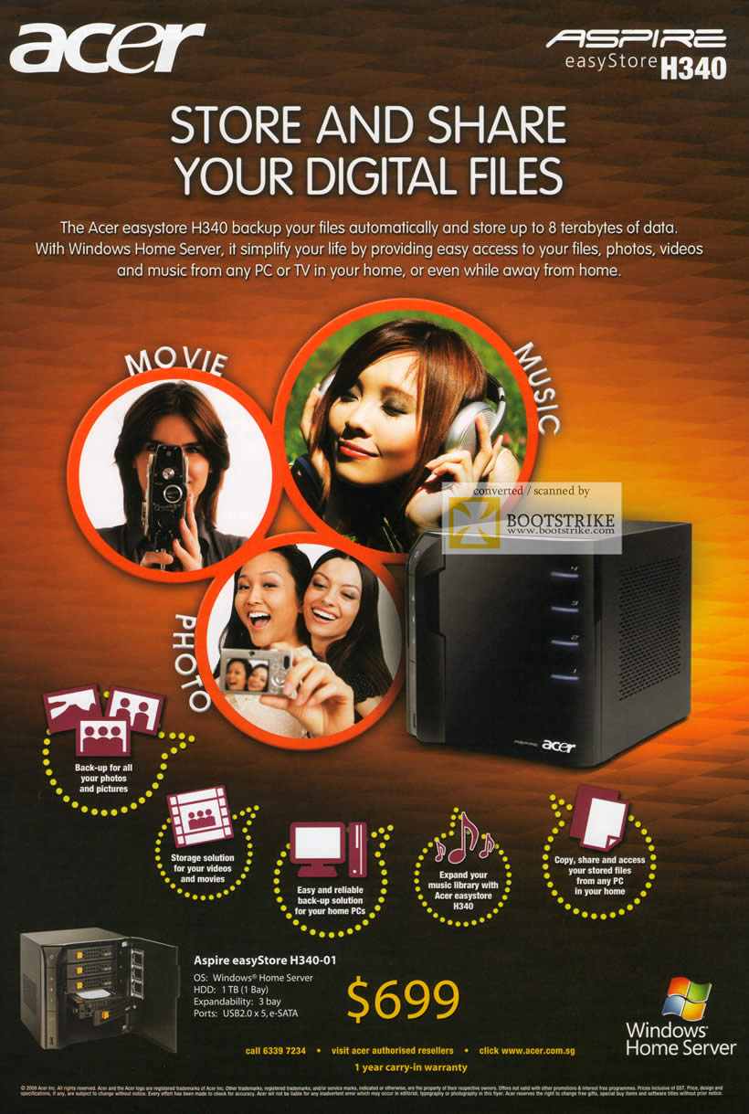 Comex 2009 price list image brochure of Acer Aspire EasyStore H340