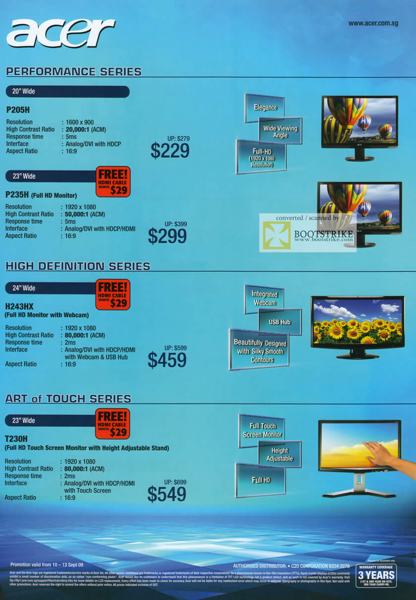 Comex 2009 price list image brochure of Acer LCD Monitors P205H P235H H243HX T230H