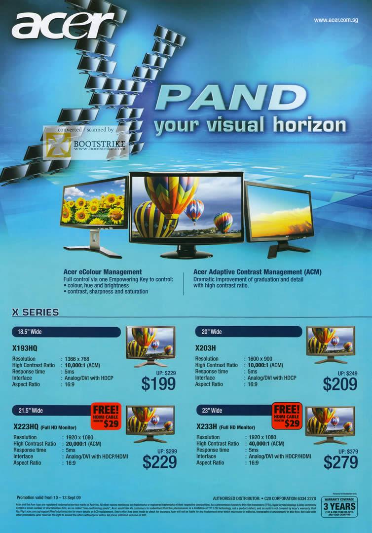 Comex 2009 price list image brochure of Acer Monitors X193HQ X203H X223HQ X233H