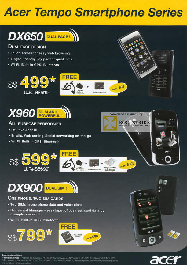 Comex 2009 price list image brochure of Acer Tempo Smartphone DX650 X960 DX900
