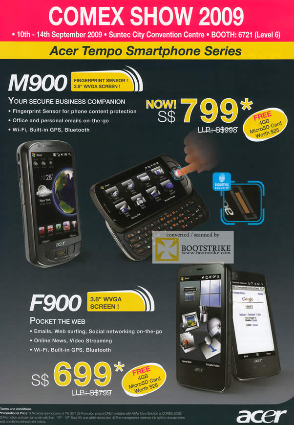 Comex 2009 price list image brochure of Acer Tempo Smartphone M900 F900
