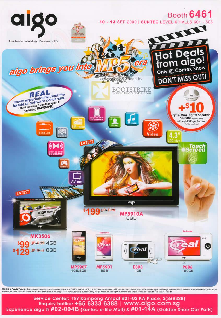 Comex 2009 price list image brochure of Aigo Mp5 PVP MK3506 MP5910A Mp5907 MP5901 E898 P886