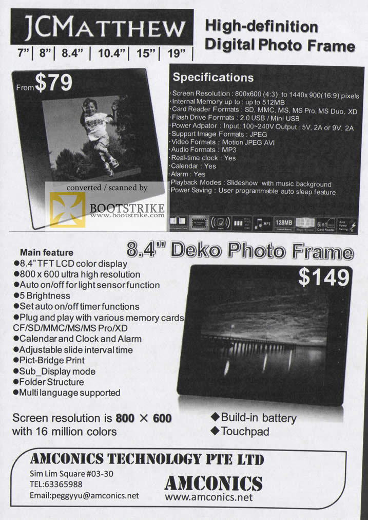 Comex 2009 price list image brochure of Amconics JCMathew Digital Photo Frame Deko