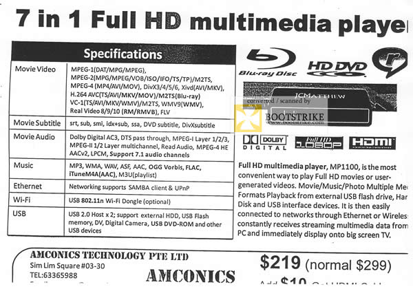 Comex 2009 price list image brochure of Amconics JCMathew Full HD Multimedia Player