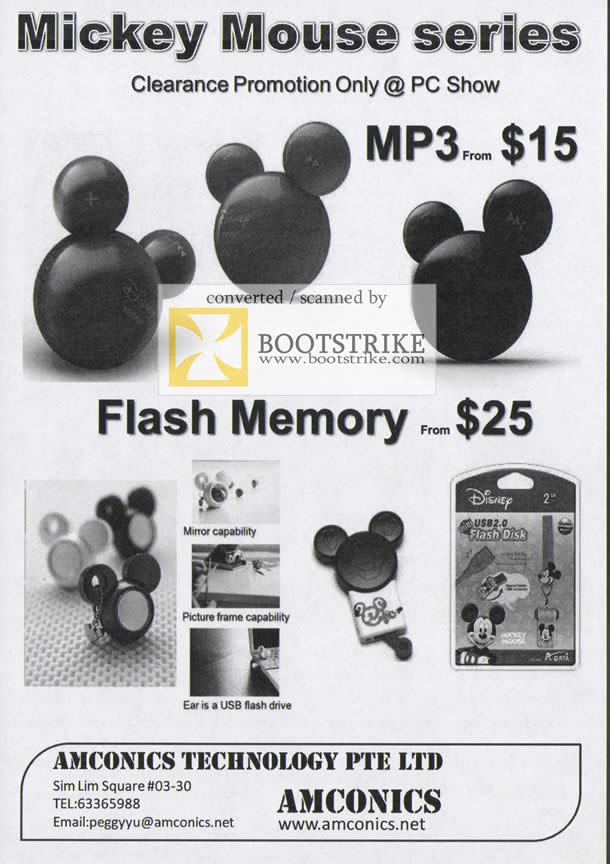 Comex 2009 price list image brochure of Amconics Mickey Mouse MP3 Flash Memory Players
