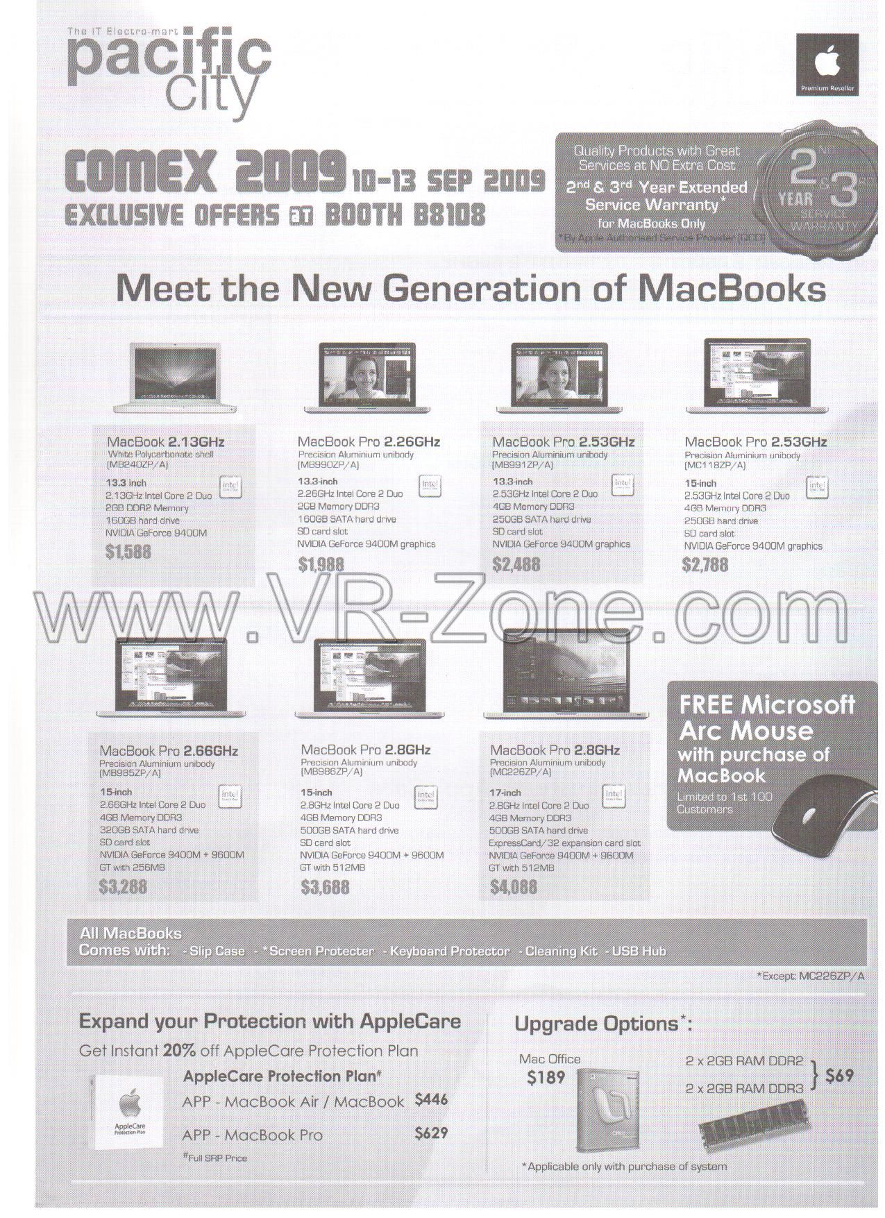 Comex 2009 price list image brochure of Apple MacBook Pro Pacific City