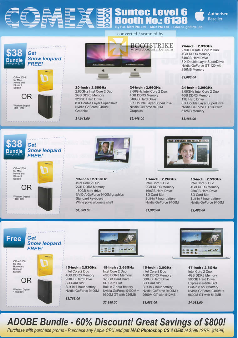 Comex 2009 price list image brochure of Apple IMac MacBook Pro PA Mart