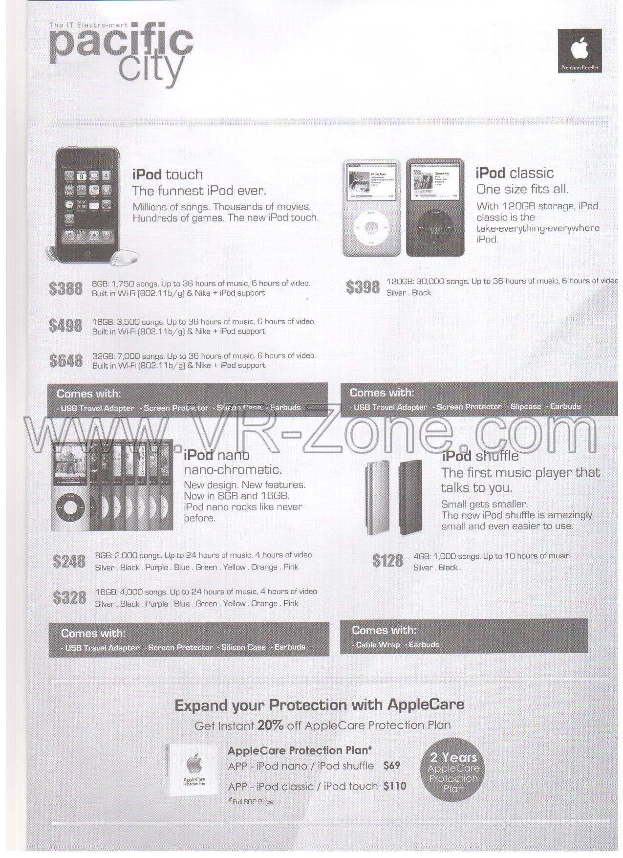 Comex 2009 price list image brochure of Apple IPod Touch Classic Nano Shuffle Pacific City
