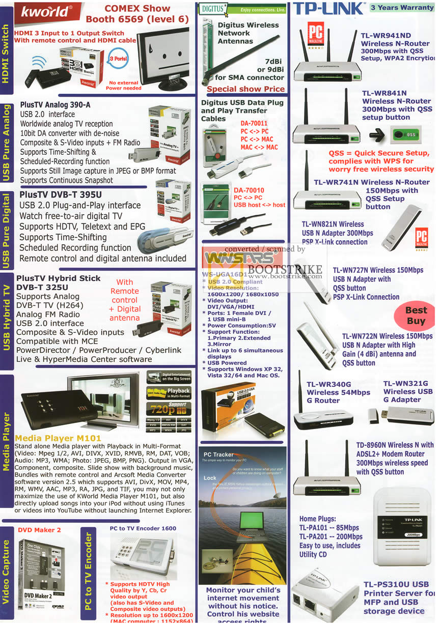 Comex 2009 price list image brochure of Asia Radio KWorld Digitus TP-LINK Media Player M101 UGA16D1