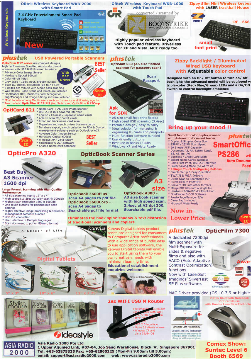 Comex 2009 price list image brochure of Asia Radio ORTek Zippy Plustek Scanners OptiSlim OpticPro OpticBook SmartOffice