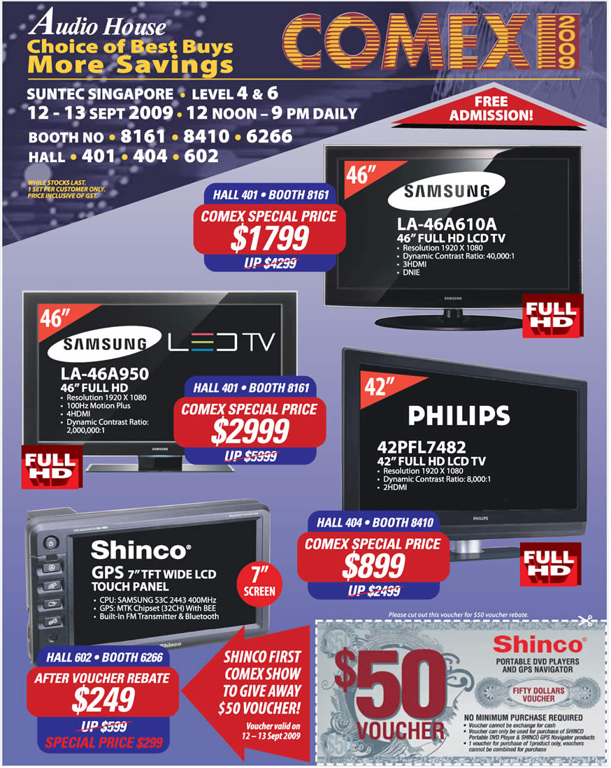 Comex 2009 price list image brochure of Audio House LED LCD TV Samsung Philips Shinco