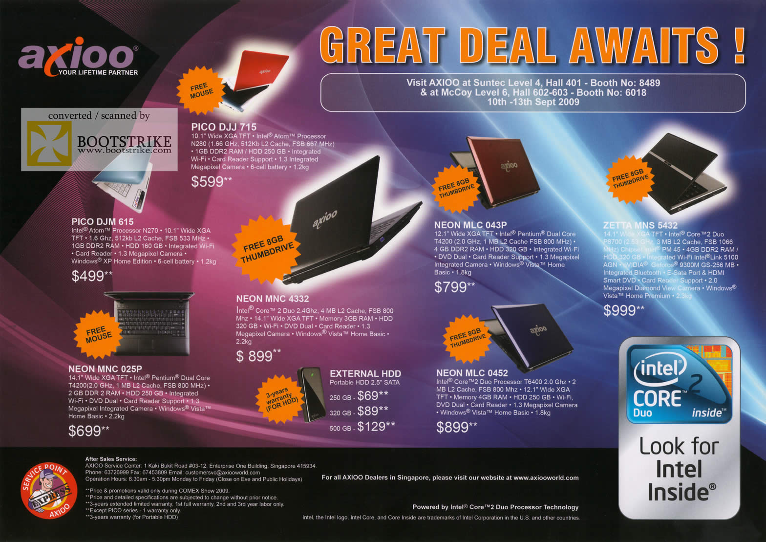 Comex 2009 price list image brochure of Axioo Notebooks Pico Neon Zetta External Portable Storage