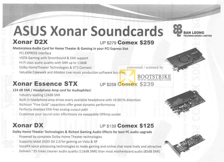 Comex 2009 price list image brochure of Ban Leong ASUS Xonar Soundcards D2X Essence STX DX