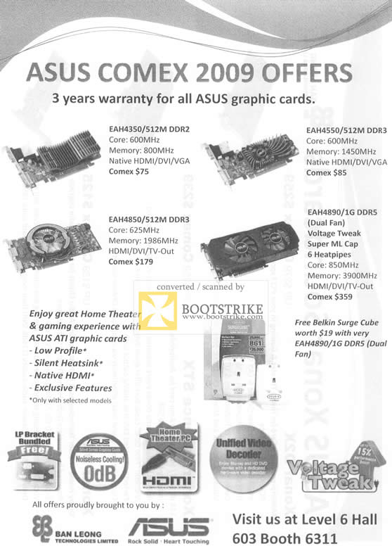 Comex 2009 price list image brochure of Ban Leong ASUS Graphic Card EAH4350 EAH4850 EAH4550 EAH4890