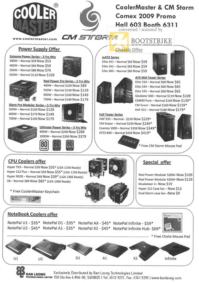 Comex 2009 price list image brochure of Ban Leong CoolerMaster Power Supply Chassis Full Tower Notebook CPU Coolers