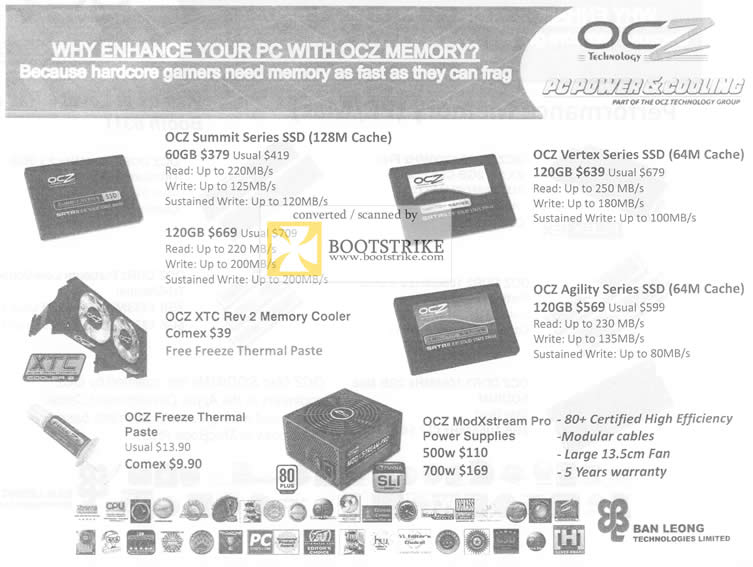 Comex 2009 price list image brochure of Ban Leong OCZ Vertex Summit XTC Agility ModXsteam Pro