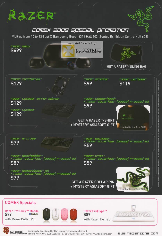 Comex 2009 price list image brochure of Ban Leong Razer Mako Lycosa Piranha