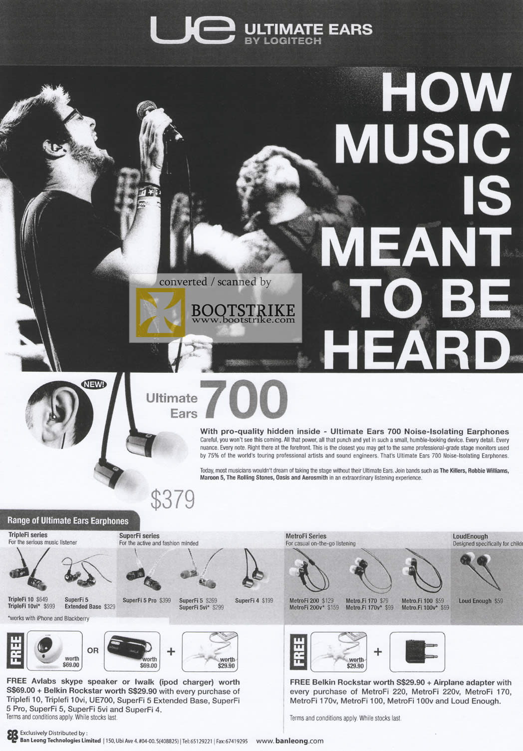Comex 2009 price list image brochure of Ban Leong Ultimate Ears 700 TripleFi SuperFi MetroFi LoudEnough