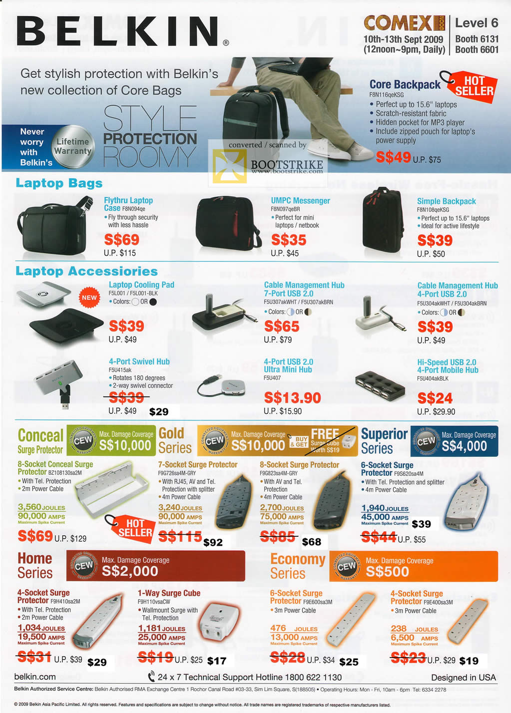 Comex 2009 price list image brochure of Belkin Laptop Bags Accessories Surge Protector