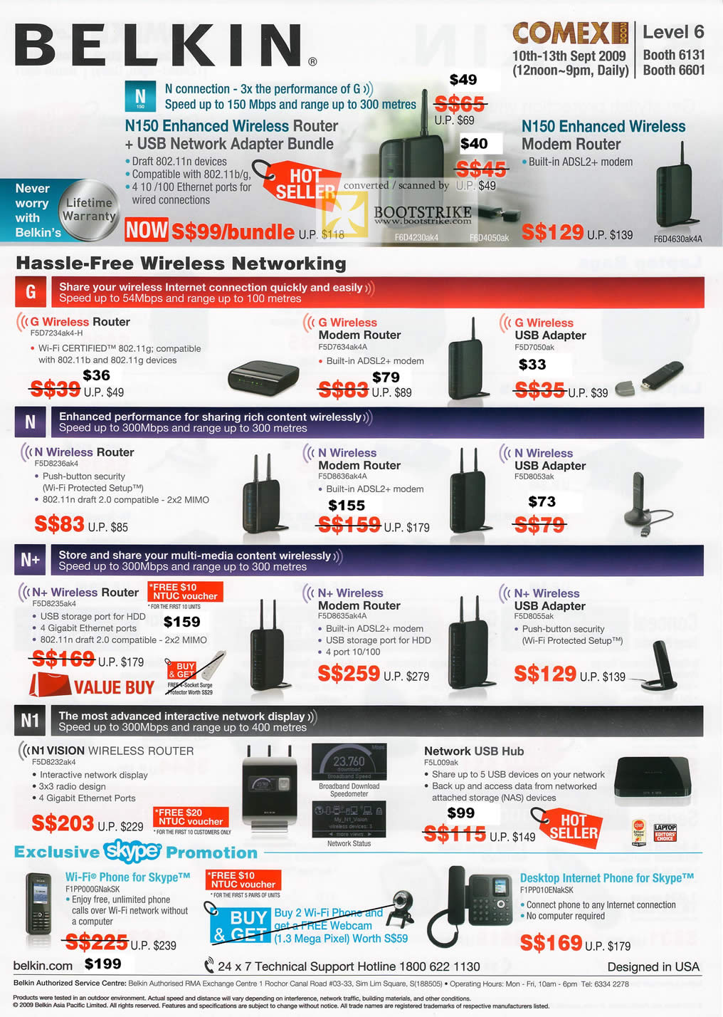Comex 2009 price list image brochure of Belkin Wireless Networking Router Adaptor Network USB Hub Skype Phone