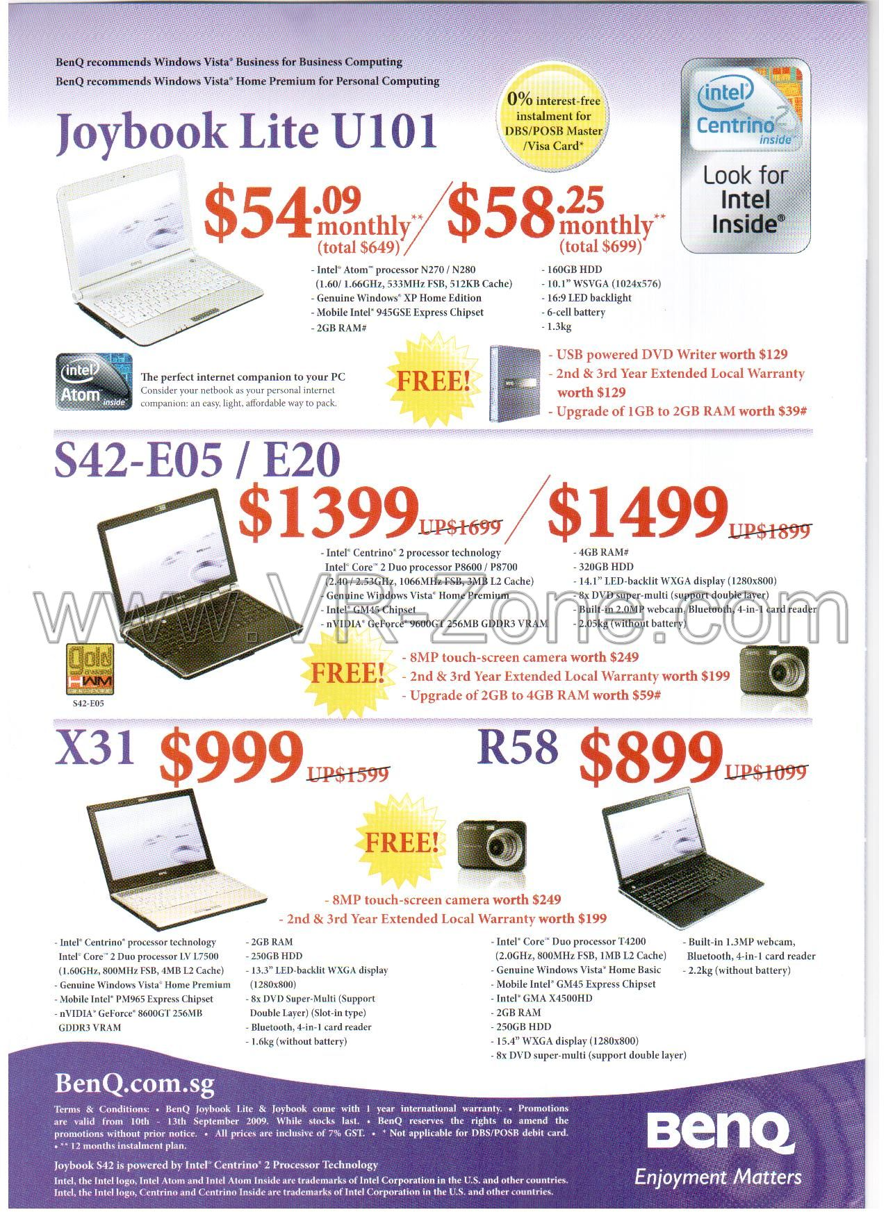 Comex 2009 price list image brochure of BenQ Netbook Joybook Lite U101 S42 E05 X31