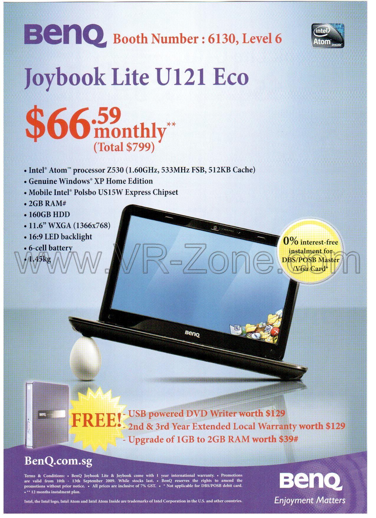 Comex 2009 price list image brochure of BenQ Netbook Joybook Lite U121 Eco