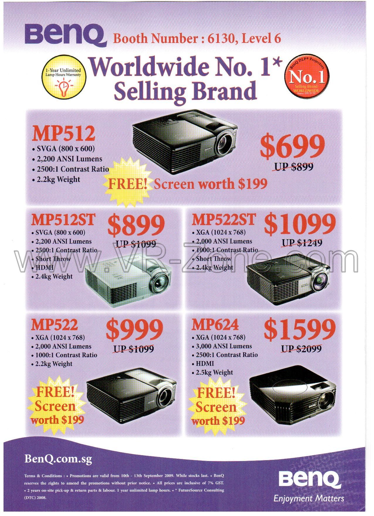 Comex 2009 price list image brochure of BenQ Projectors MP512 MP512ST MP522ST MP624 MP522