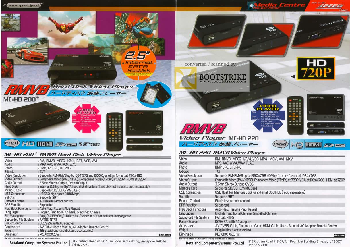 Comex 2009 price list image brochure of Betaland HD-200 HD-220 RMVB Hard Disk Video Media Player