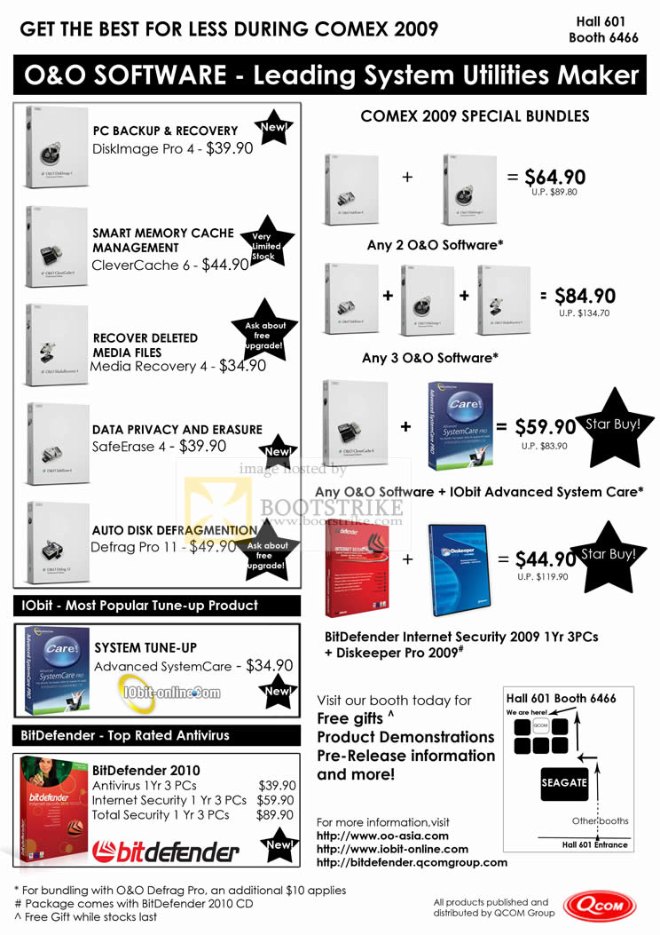 Comex 2009 price list image brochure of BitDefender Internet Security IOBit System Tune Up O&O Software Diskeeper QCOM