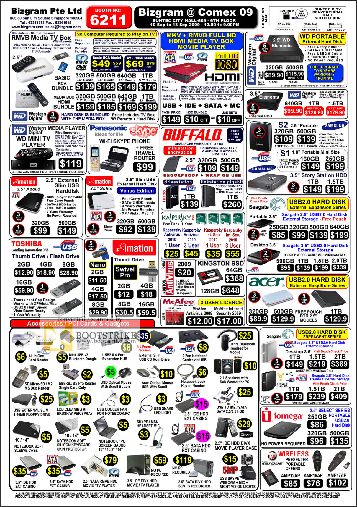 Comex 2009 price list image brochure of Bizgram Media TV Box WD Western Digital Buffalo Seagate Acer Toshiba Imation