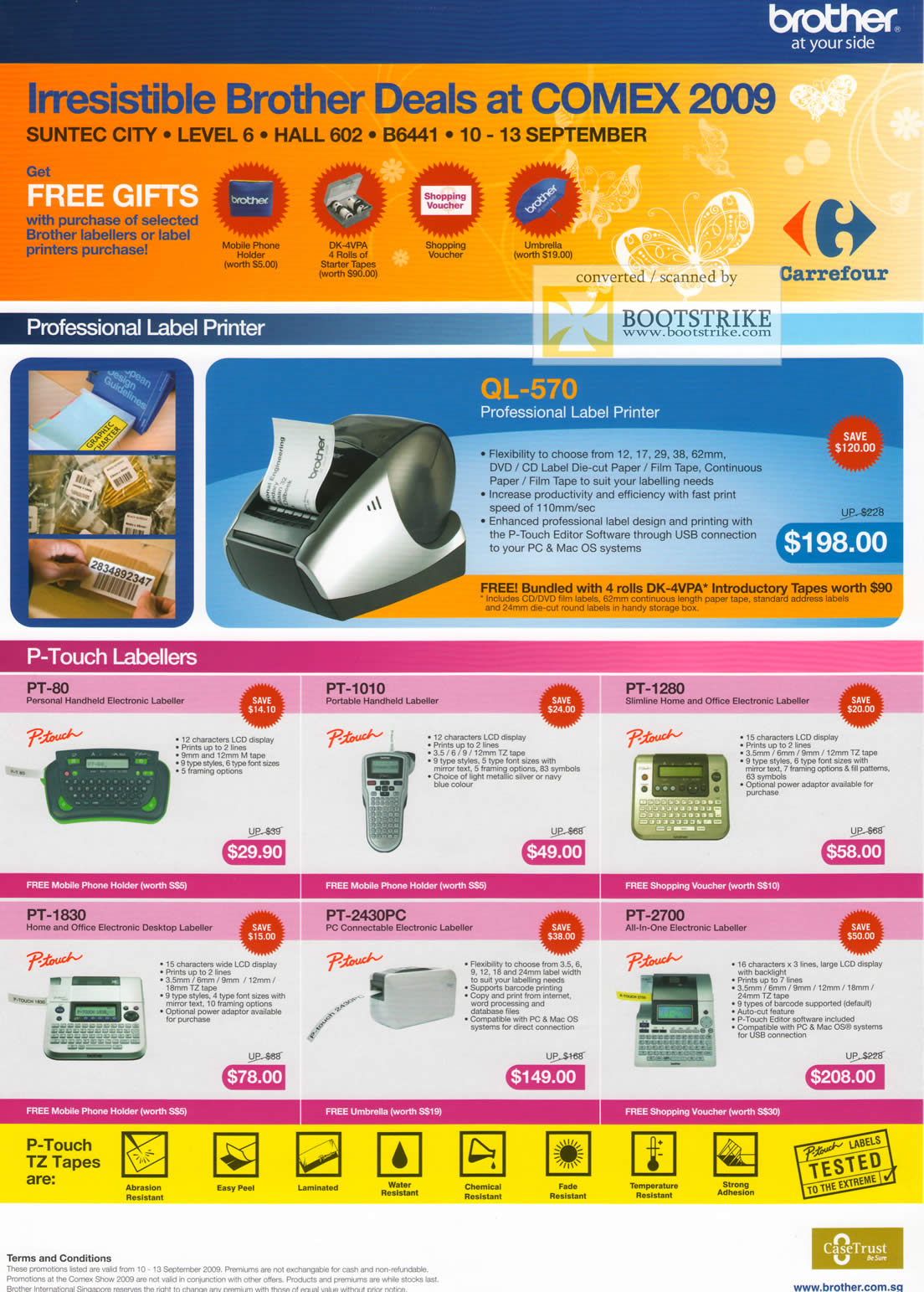 Comex 2009 price list image brochure of Brother Professional Label QL-570 P-Touch Labellers PT