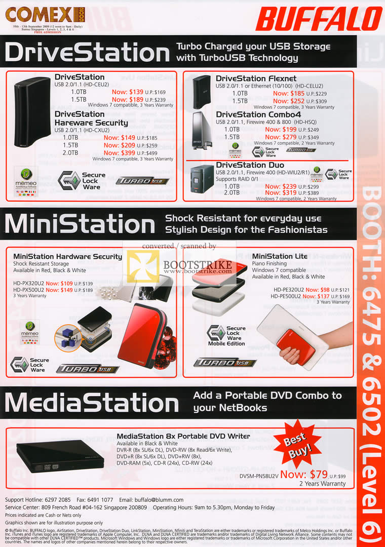 Comex 2009 price list image brochure of Buffalo DriveStation MiniStation MediaStation DVD Writer