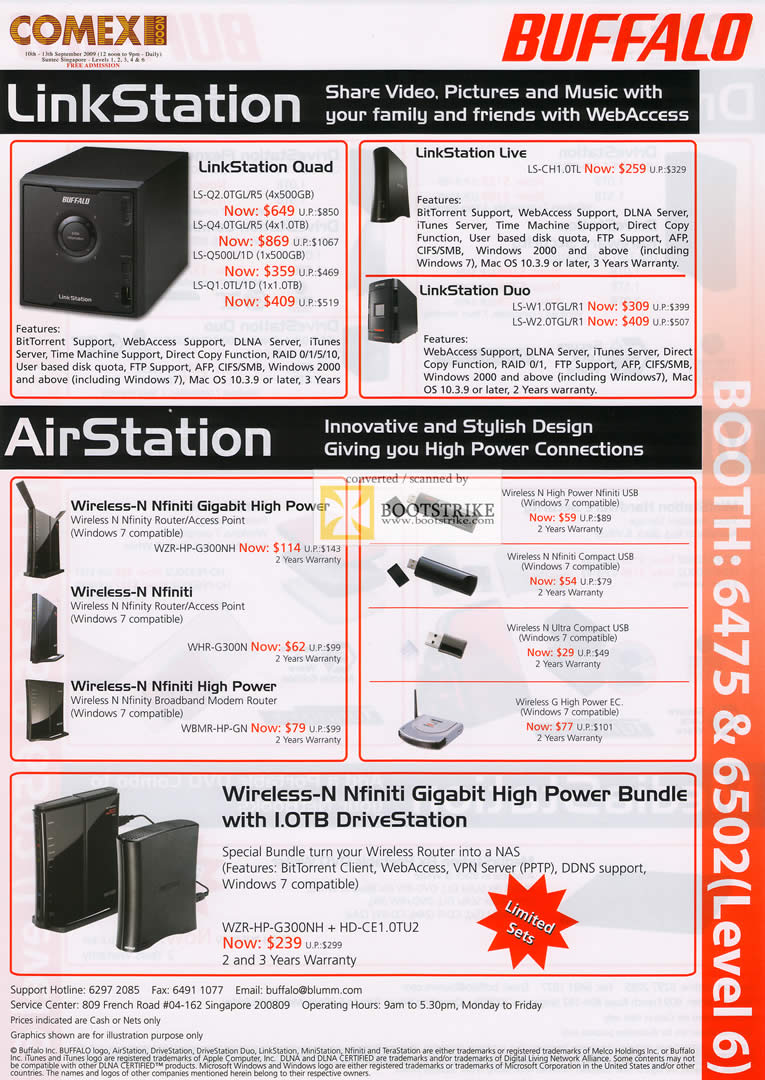 Comex 2009 price list image brochure of Buffalo LinkStation AirStation Wireless N Nfiniti Gigabit