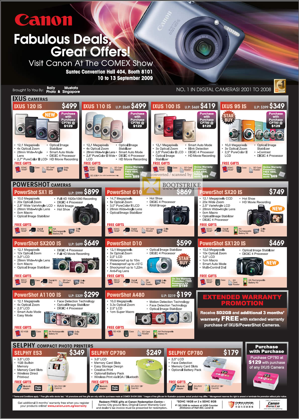 Comex 2009 price list image brochure of Canon Cameras IXUS PowerShot Selphy Compact Photo Printers